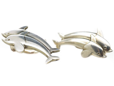 Silver Dolphin Clip On Earrings by Arno Malinowski for Georg Jensen