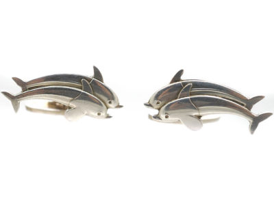 Silver Dolphin Cufflinks by Arno Malinowski for Georg Jensen