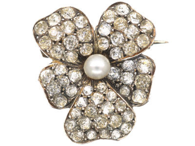 Edwardian Silver, Pearl & Paste Pansy Brooch