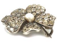 Edwardian Silver, Pearl & Paste Pansy Brooch