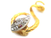 Victorian 15ct Gold Snake Slide set with Diamonds & Ruby Eyes
