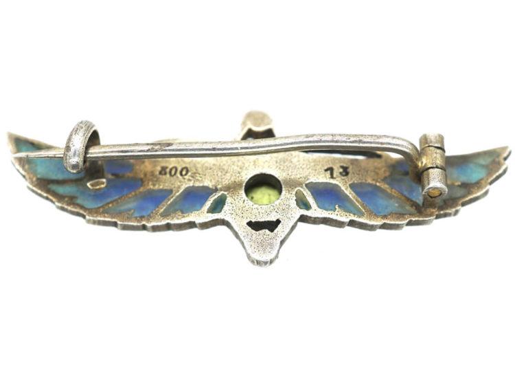 Egyptian Revival Silver & Plique a Jour Scarab Brooch