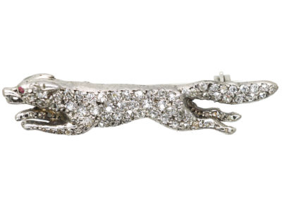 Edwardian Diamond Set Fox Brooch with Ruby Eyes