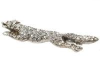 Edwardian Diamond Set Fox Brooch with Ruby Eyes