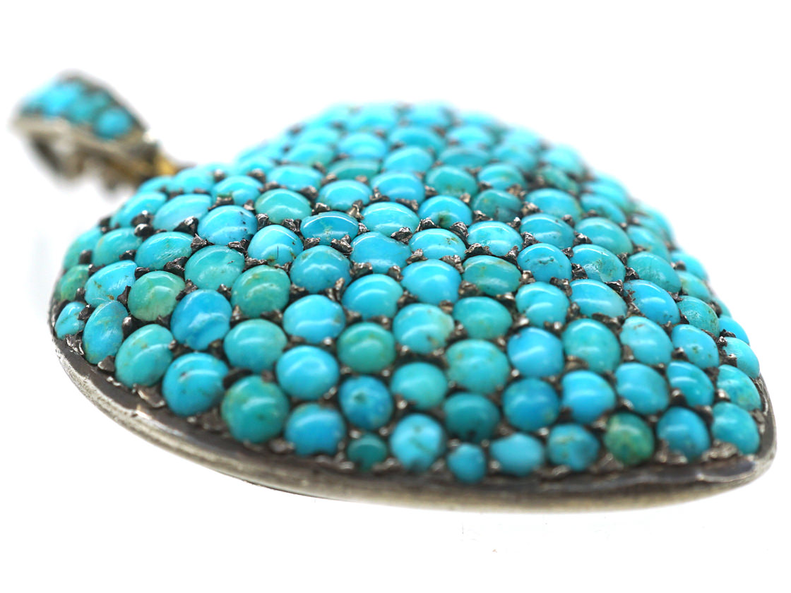 Edwardian Silver Gilt Pave Set Turquoise Heart Pendant