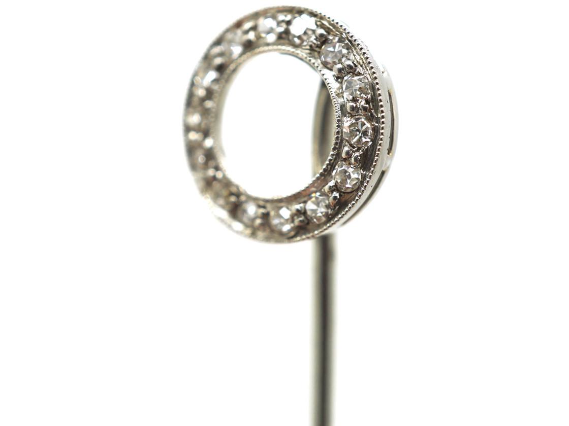 Art Deco Platinum & Diamond Set Winning Post Tie Pin