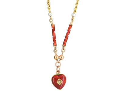 Edwardian 9ct Gold & Strawberry Red & White Enamel Heart Necklace