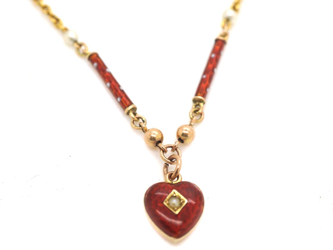 Edwardian 9ct Gold & Strawberry Red & White Enamel Heart Necklace