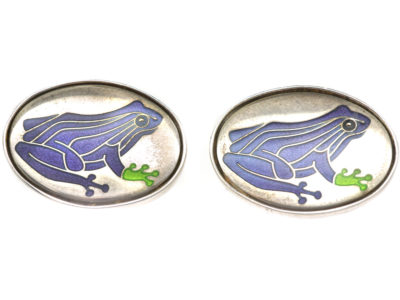 Silver Purple Frog Cufflinks by Roger Doyle