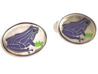 Silver Purple Frog Cufflinks by Roger Doyle