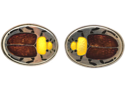 Silver Scarab Beetle Cufflinks by Roger Doyle