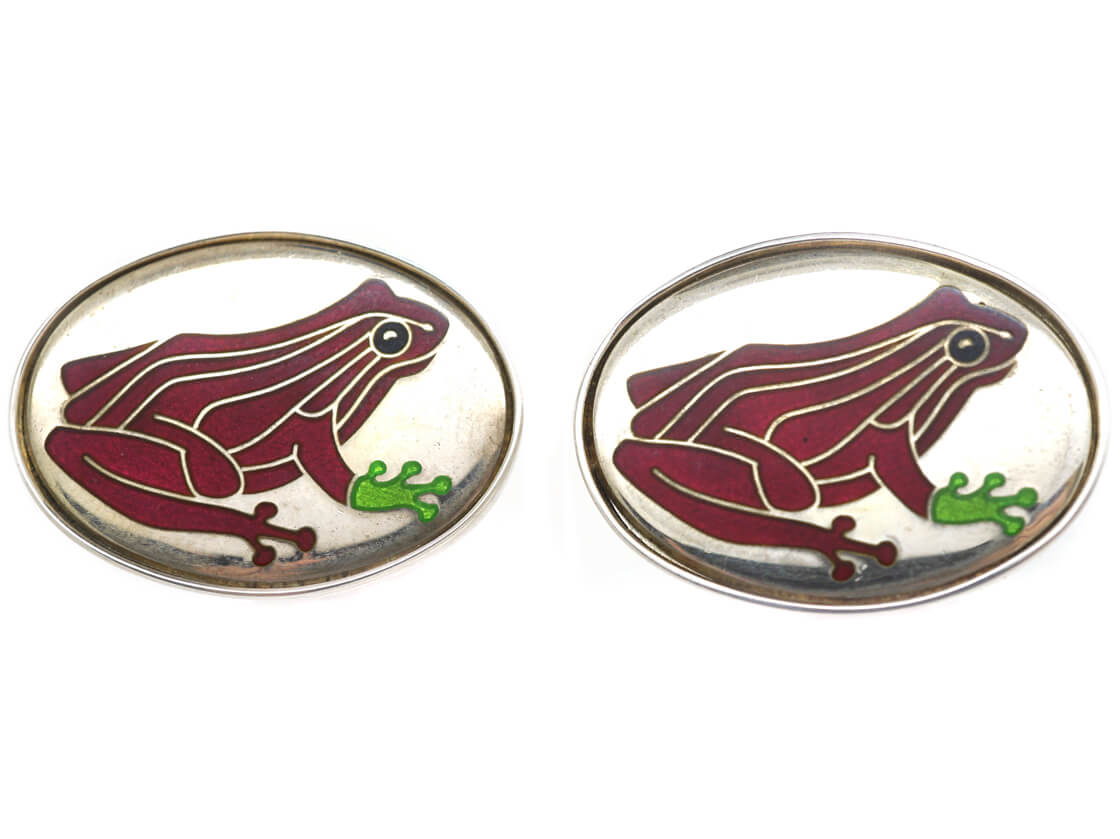 Silver Red Frog Cufflinks by Roger Doyle