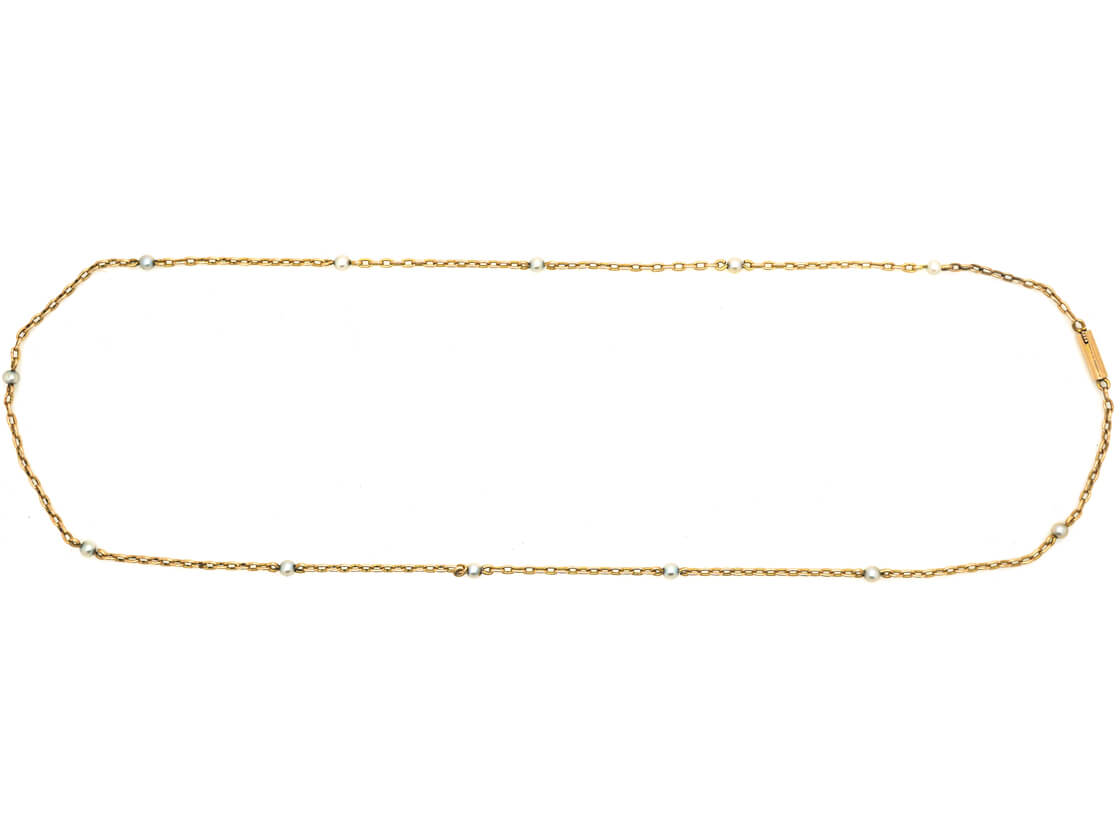 Edwardian 15ct Gold & Natural Pearls Chain