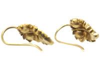 Georgian 18ct Gold Rose Diamond Vine Leaf Earrings