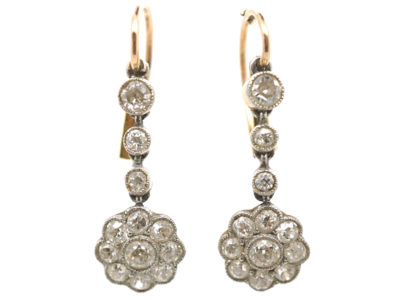 Edwardian 15ct Gold & Platinum, Diamond Cluster Drop Earrings