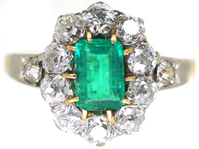 Swedish 18ct Gold Emerald & Diamond Cluster Ring