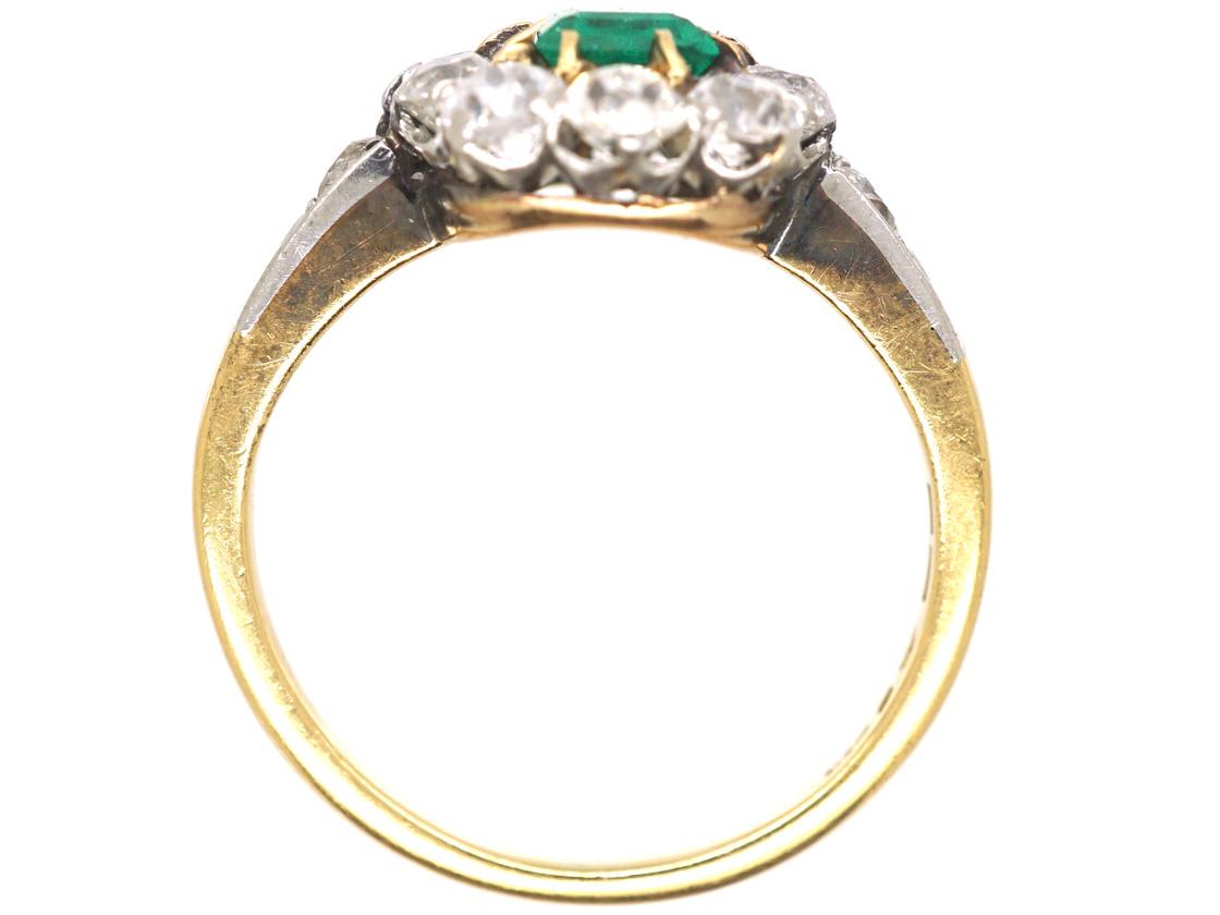 Swedish 18ct Gold Emerald & Diamond Cluster Ring