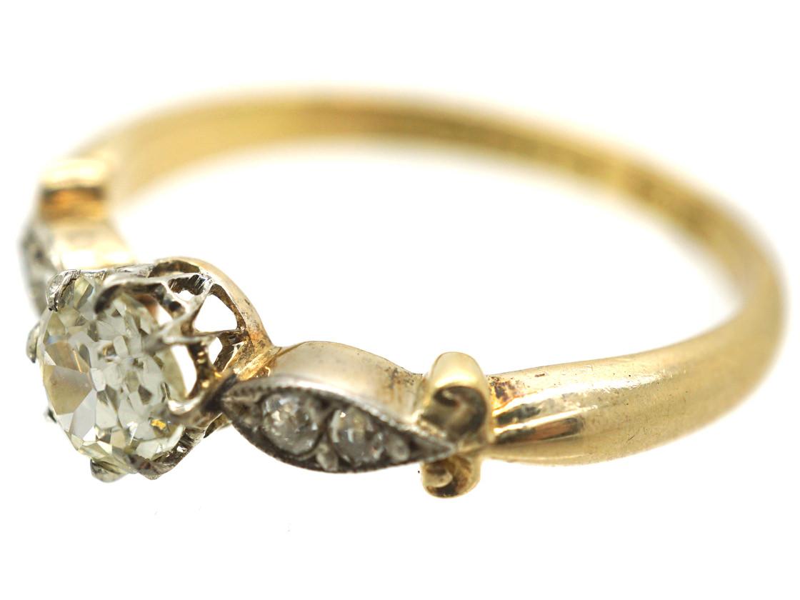 Edwardian 18ct Gold, Platinum & Diamond Solitaire Ring