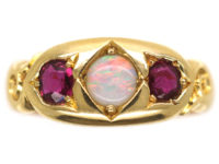 Victorian 22ct Gold Ruby & Opal Three stone Ring