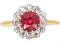 Edwardian 18ct Gold & Platinum, Red Spinel & Diamond Cluster Ring