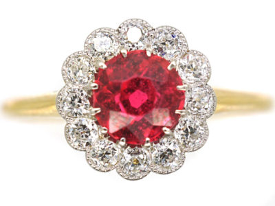 Edwardian 18ct Gold & Platinum, Red Spinel & Diamond Cluster Ring