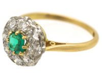 Edwardian 18ct Gold and Platinum, Emerald & Diamond Cluster Ring