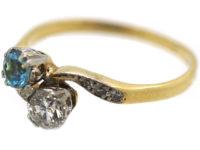 Edwardian 18ct Gold & Platinum, Aquamarine & Diamond Crossover Ring