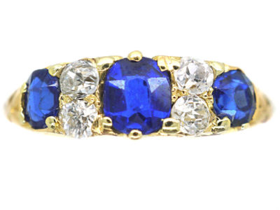 Edwardian 18ct Gold, Sapphire & Diamond Three Stone Carved Half Hoop Ring