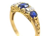 Edwardian 18ct Gold, Sapphire & Diamond Three Stone Carved Half Hoop Ring