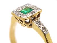 Edwardian 18ct Gold & Platinum, Emerald & Diamond Geometric Ring