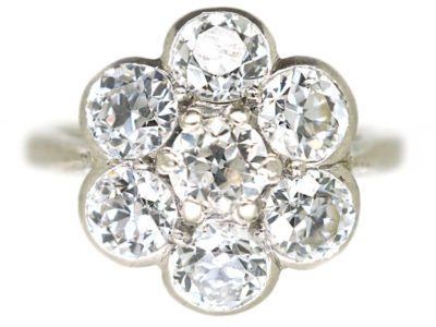 Art Deco Large Platinum and Diamond Daisy Cluster Ring