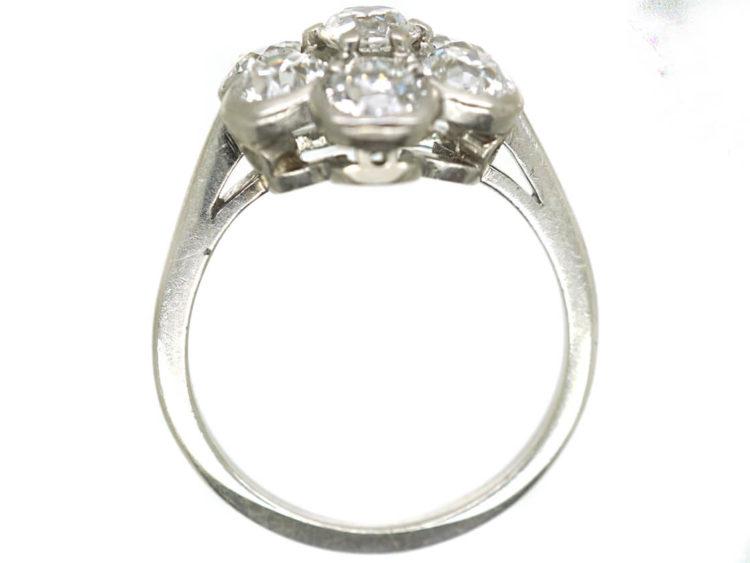 Art Deco Large Platinum and Diamond Daisy Cluster Ring