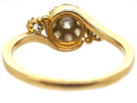 Edwardian 18ct Gold & Diamond Cluster Ring with Diamond Shoulders