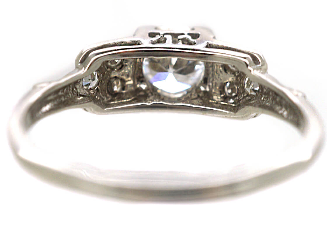 Art Deco 18ct White Gold Solitaire Diamond Ring with Step Cut Design Shoulders
