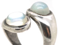 Silver Crossover Design Ring set with Two Moonstones