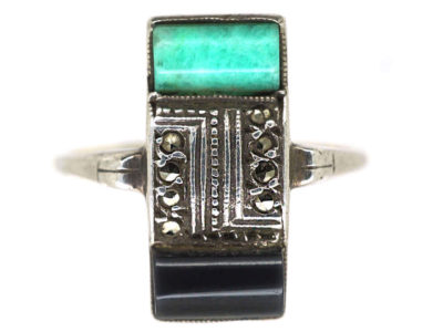 Art Deco Silver, Gold Onyx Marcasite & Amazonite Rectangular Ring