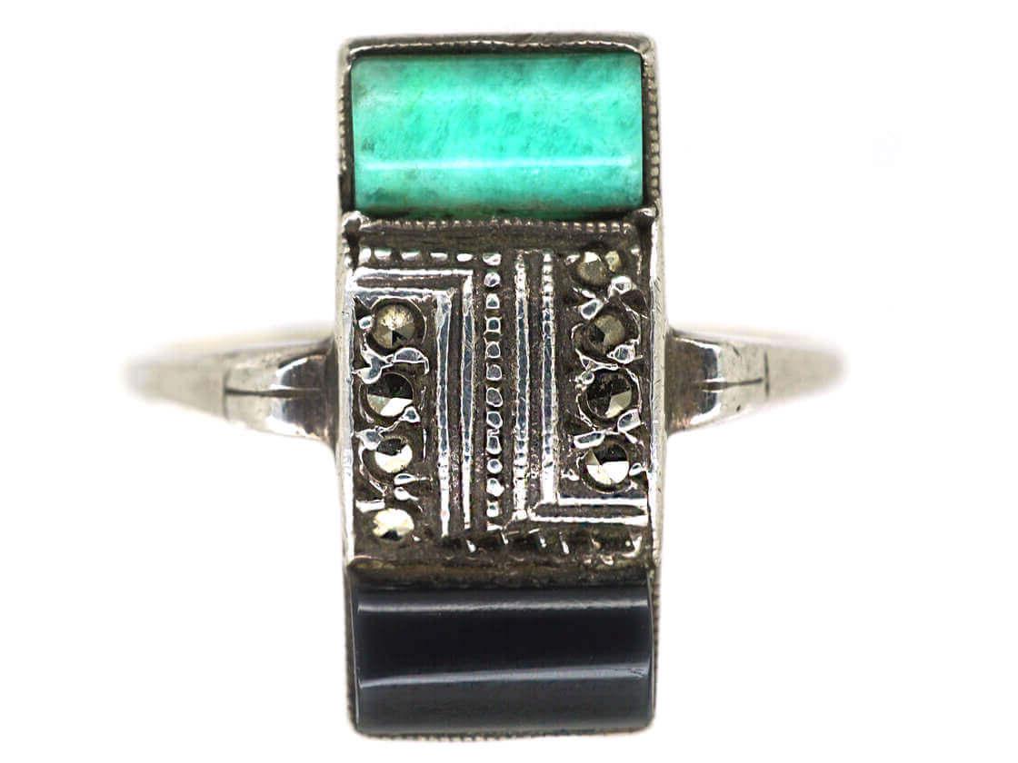 Art Deco Silver, Gold Onyx Marcasite & Amazonite Rectangular Ring