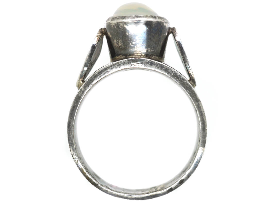 Silver Ring set with a Large Oval Moonstone