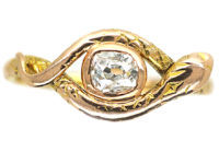 18ct Gold Snake Ring set with an Old Mine Cut Diamond