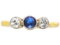 Art Deco 18ct Gold & Platinum, Three Stone Diamond & Sapphire Ring