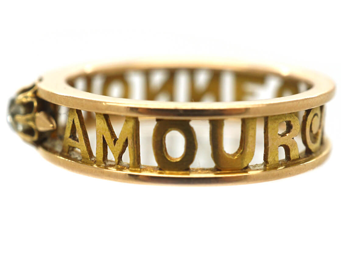Edwardian 18ct Gold & Diamond Honneur and Amour Ring
