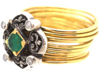 18ct Gold Harem Ring With Emerald & Rose Diamond Top