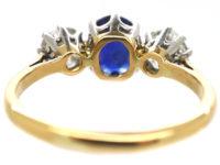 Art Deco 18ct Gold and Platinum, Sapphire & Diamond Three Stone Ring