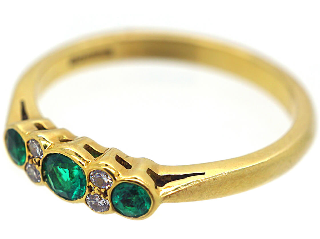 1960s 18ct Gold Three Stone Emerald and Diamond Ring Made By Cropp & Farr