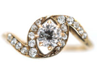 Art Nouveau 18ct Gold, Diamond Solitaire Twist Ring