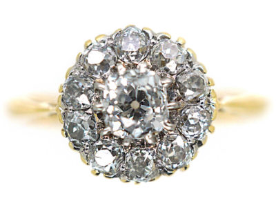 Edwardian 18ct Gold, Diamond Cluster Ring