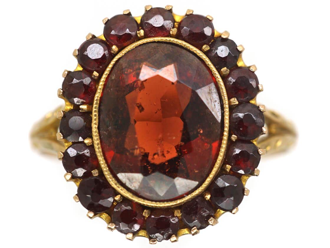 Edwardian Pyrope-Almandine Garnet Cluster Ring