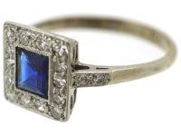 Art Deco 18ct Gold, Platinum Sapphire & Diamond Square Ring