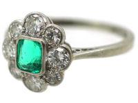 Art Deco Platinum & 18ct White Gold, Emerald & Diamond Cluster Ring