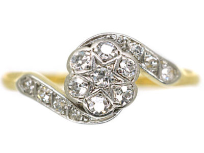 Edwardian 18ct Gold & Platinum Crossover Diamond Cluster Ring